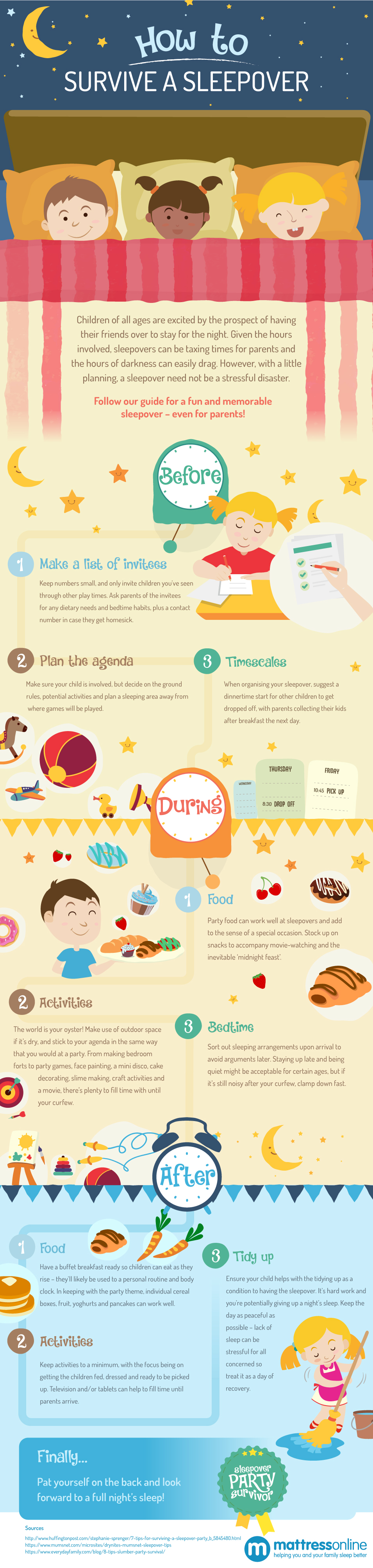 Infographic showing parents how to survive a sleepover for children.